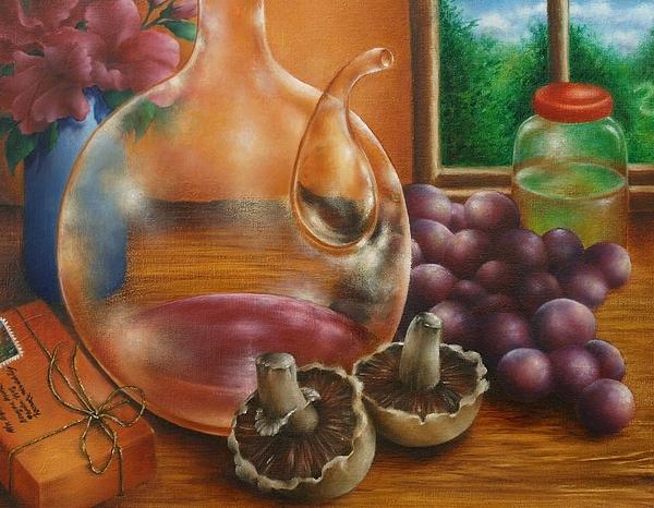 Still Life In Oil Print by Evelyn Sichrovsky