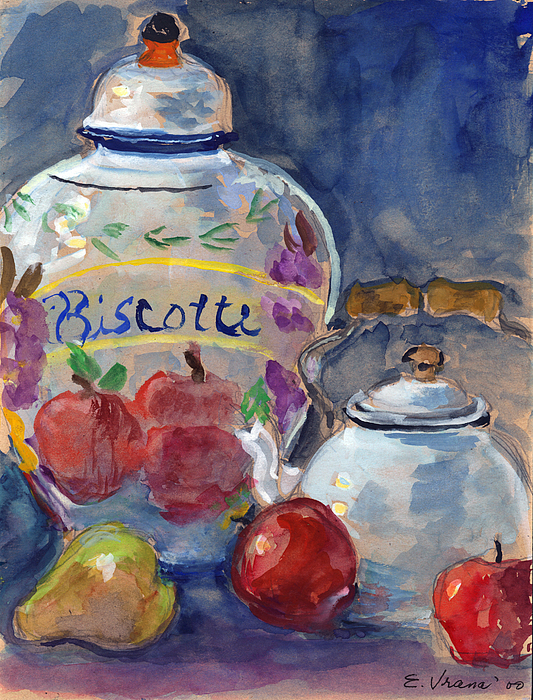 Still Life With Apples And Tea Kettle Print by Ethel Vrana