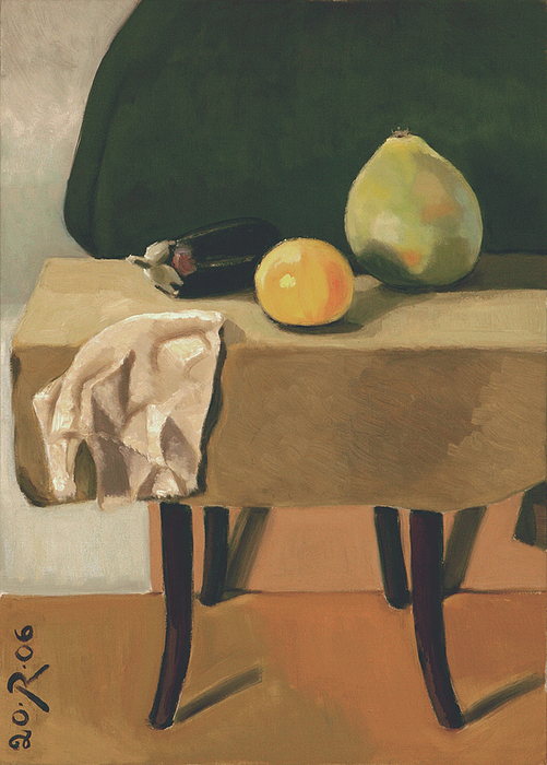 Still-life With Grapefruit Print by Raimonda Jatkeviciute-Kasparaviciene