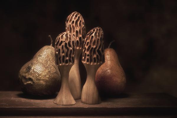 Still Life With Mushrooms And Pears I Print by Tom Mc Nemar