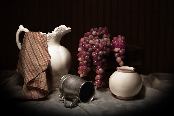 Still Life With Pitcher And Grapes Print by Tom Mc Nemar