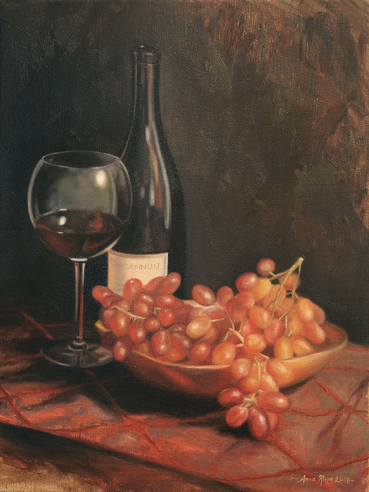Still Life With Wine And Grapes Print by Anna Rose Bain