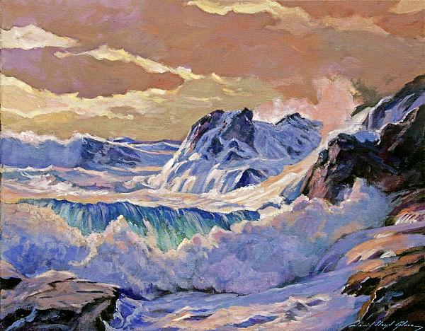 Storm On Pacific Coast Print by David Lloyd Glover