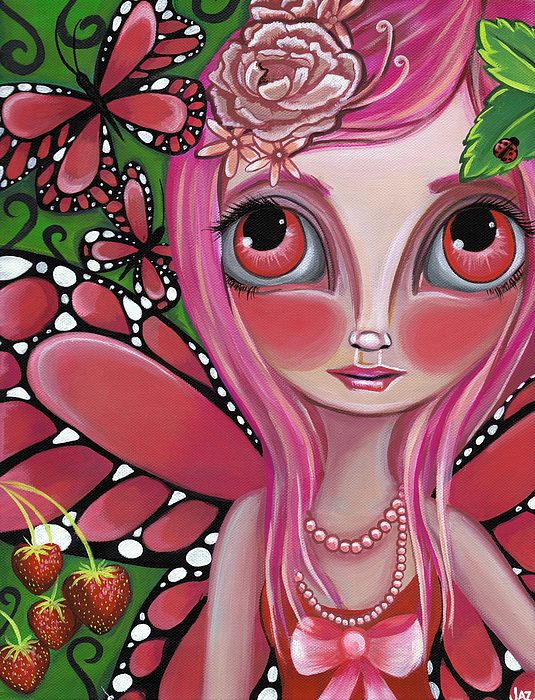 Strawberry Butterfly Fairy Print by Jaz Higgins