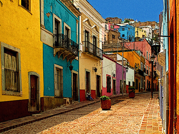 Street Of Color Guanajuato 4 Print by Olden Mexico