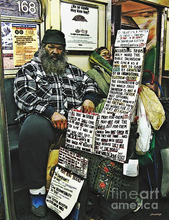 Street Preacher On The A Train Print by Sarah Loft