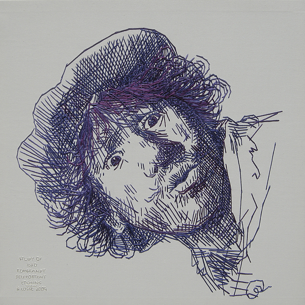 study-in-thread of 1630 Rembrandt self-portrait etching Print by Barbara Lugge