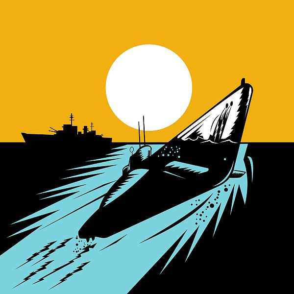 Submarine Boat Retro Print by Aloysius Patrimonio