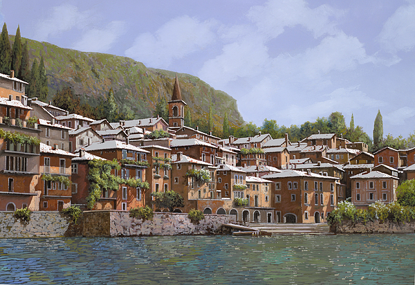 Sul Lago Di Como Print by Guido Borelli