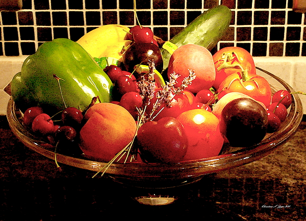 Summer Fruit And Veggies Still Life -- Another Fresh Paintograph Print by Christine S Zipps