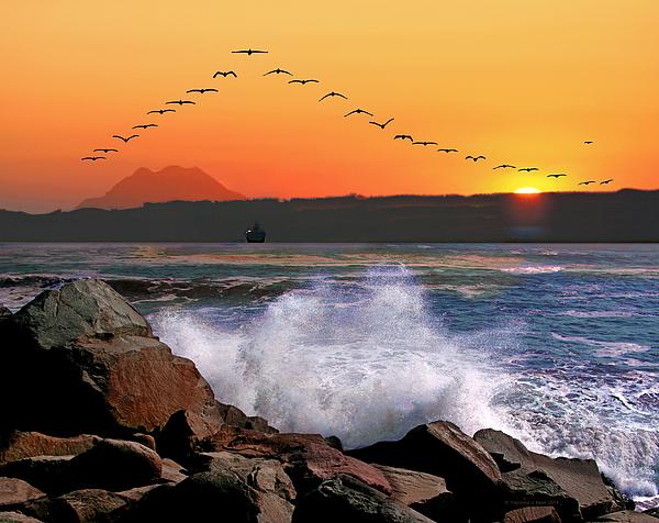 Raymond Klein - Sunrise at Grays Harbor from North Jetty