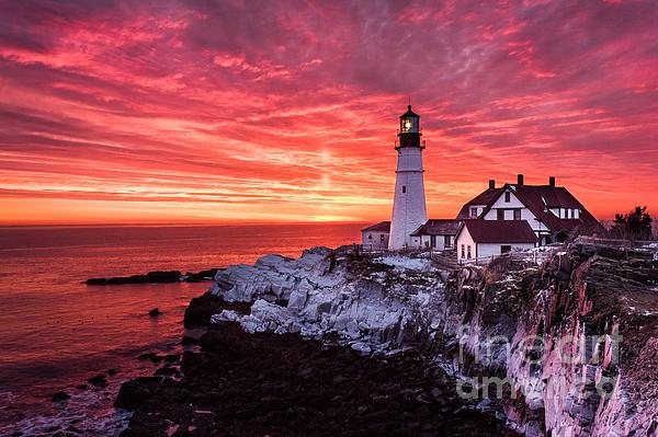 Sunrise At Portland Head Lighthouse Print by Benjamin Williamson