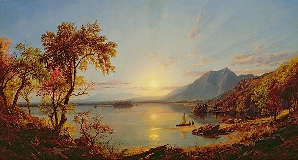 Sunset - Lake George Print by Jasper Francis Cropsey