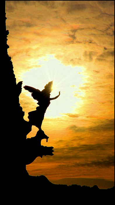 Sunset Angel Print by Valentino Visentini