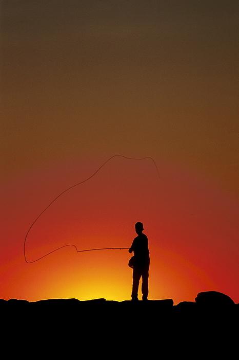 Sunset Casting Print by John Greim