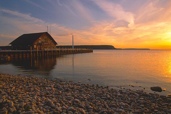 Sunset On Anderson's Dock - Door County Print by Sandra Bronstein