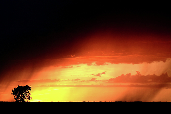 Sunset With Rain In Scenic Saskatchewan Print by Mark Duffy