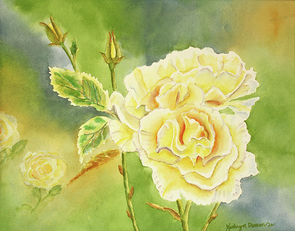 Sunshine And Yellow Roses Print by Kathryn Duncan