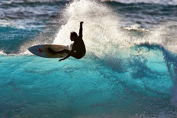 Surfer Silhouette Print by Geoff Tydeman