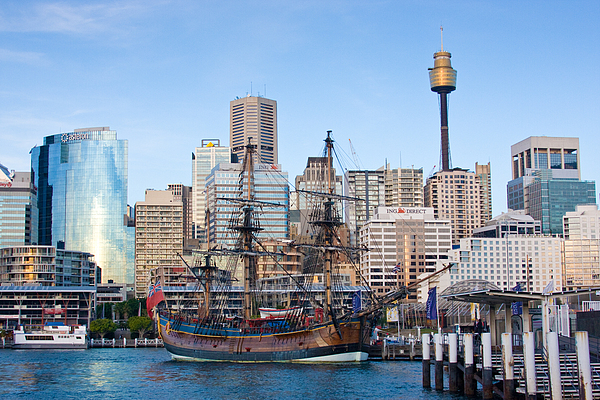 Tall Ships - Sydney Harbor Print by Charles Warren