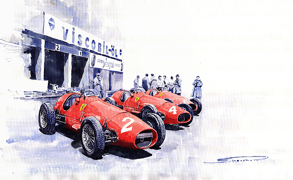 Team Ferrari 500 F2 1953 German Gp Print by Yuriy  Shevchuk