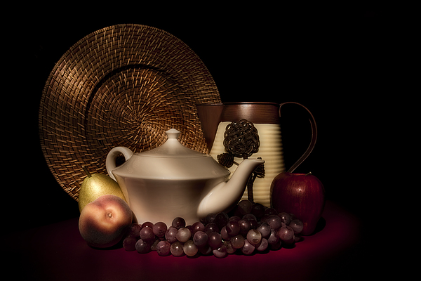 Teapot With Fruit Still Life Print by Tom Mc Nemar