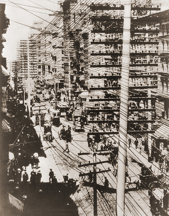 Telephone Wires Over New York, 1887 Print by Everett