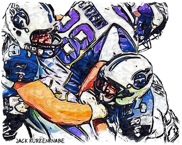 Tennessee Titans Karl Klug And Chris Hope And Minnesota Vikings Adrian Peterson Print by Jack K