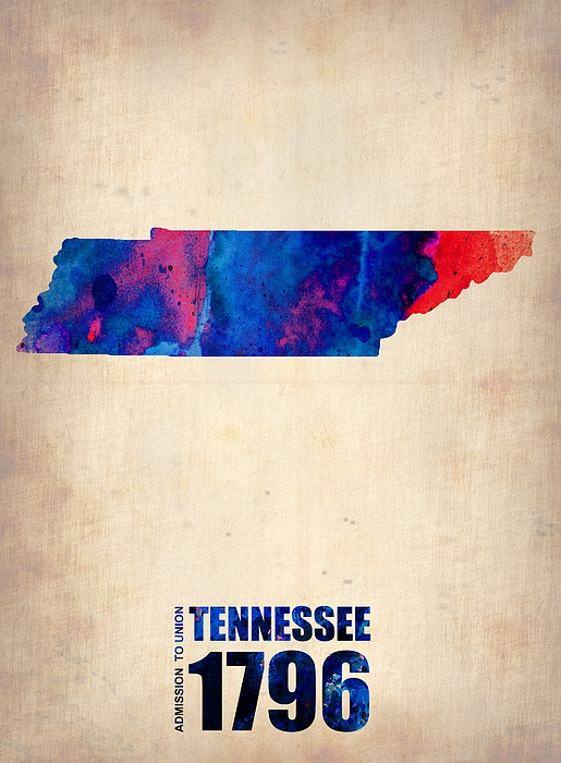 Tennessee Watercolor Map Print by Naxart Studio