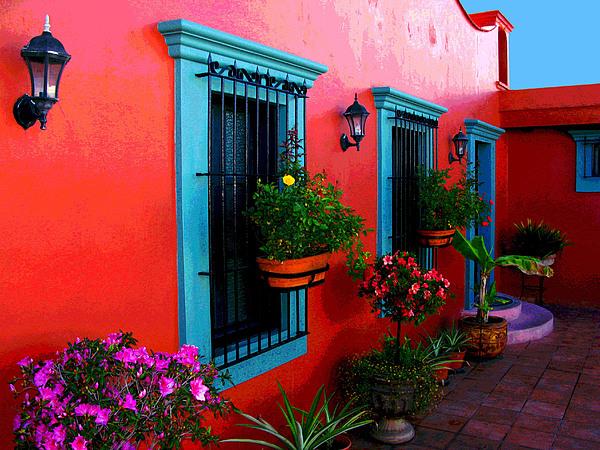 Terrace Windows At Casa De Leyendas By Darian Day Print by Mexicolors Art Photography