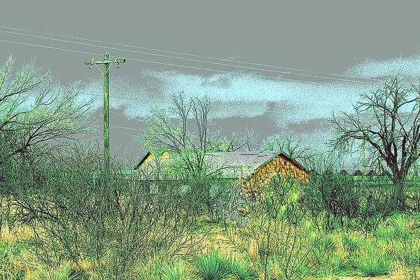 Texas Farm House - Digital Painting Print by Merton Allen