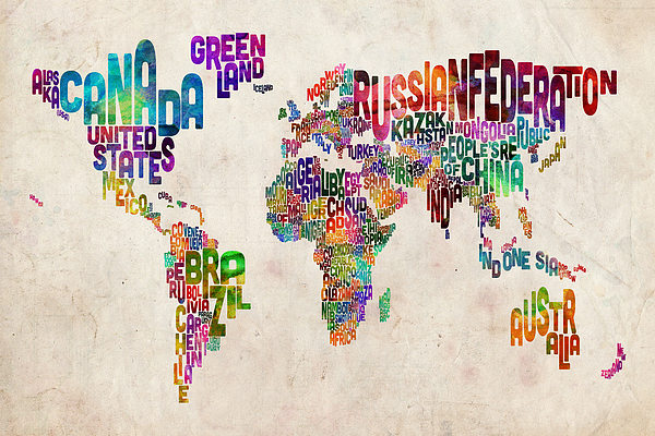 Text Map Of The World Print by Michael Tompsett