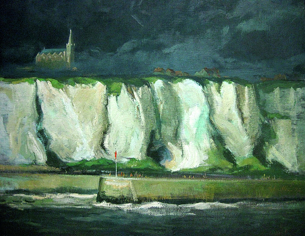 Tha Cliffs Of Etretat At Night Print by Zois Shuttie