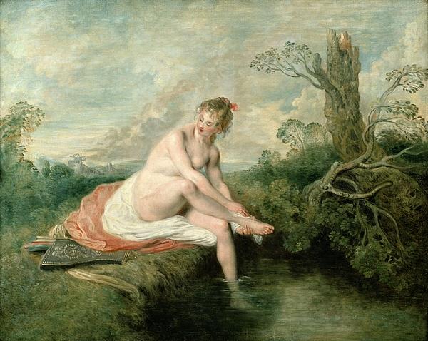 The Bath Of Diana Print by Jean Antoine Watteau