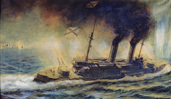 The Battle Of The Gulf Of Riga Print by Mikhail Mikhailovich Semyonov
