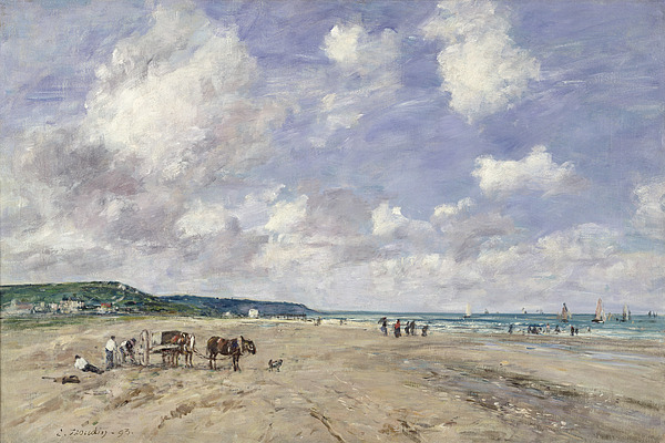 The Beach At Tourgeville Print by Eugene Louis Boudin