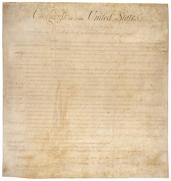 The Bill Of Rights. The First Ten Print by Everett