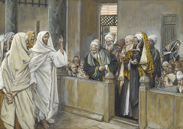 The Chief Priests Ask Jesus By What Right Does He Act In This Way Print by James Jacques Joseph Tissot