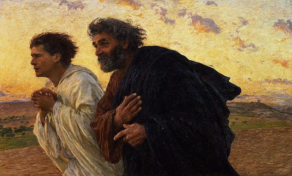 The Disciples Peter And John Running To The Sepulchre On The Morning Of The Resurrection Print by Eugene Burnand