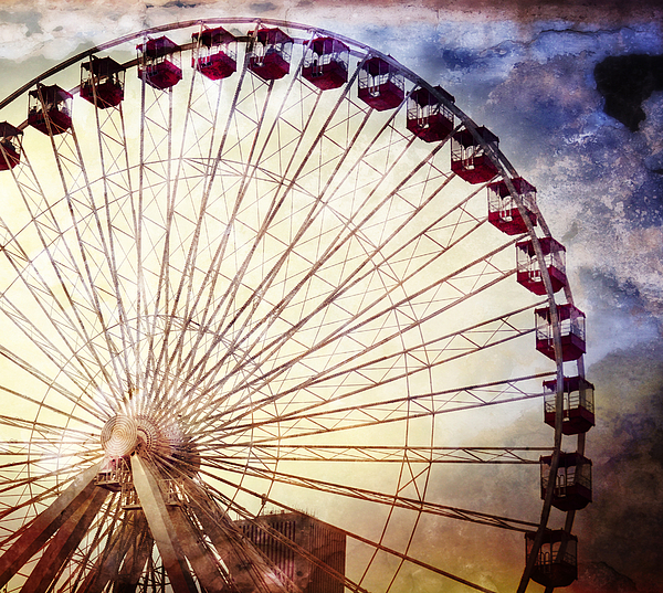 The Ferris Wheel At Navy Pier Print by Mary Machare
