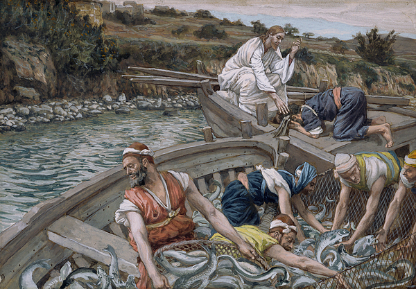 The First Miraculous Draught Of Fish Print by Tissot