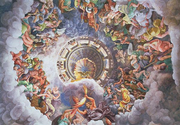 The Gods Of Olympus Print by Giulio Romano