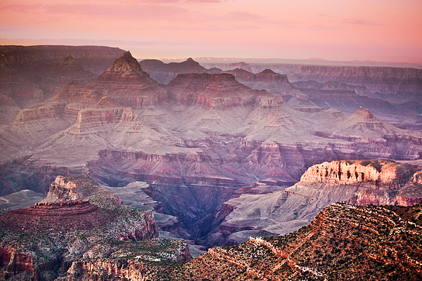 The Grand Canyon  South Rim At Dusk Print by Ryan Kelly