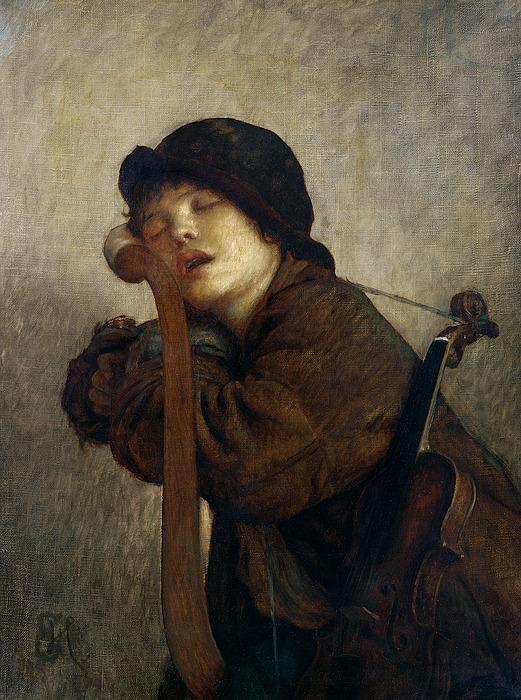 The Little Violinist Sleeping Print by Antoine Auguste Ernest Hebert