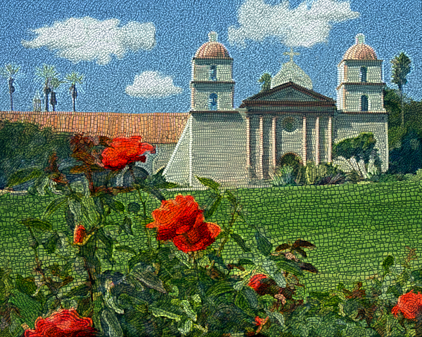 The Mission Santa Barbara Print by Kurt Van Wagner