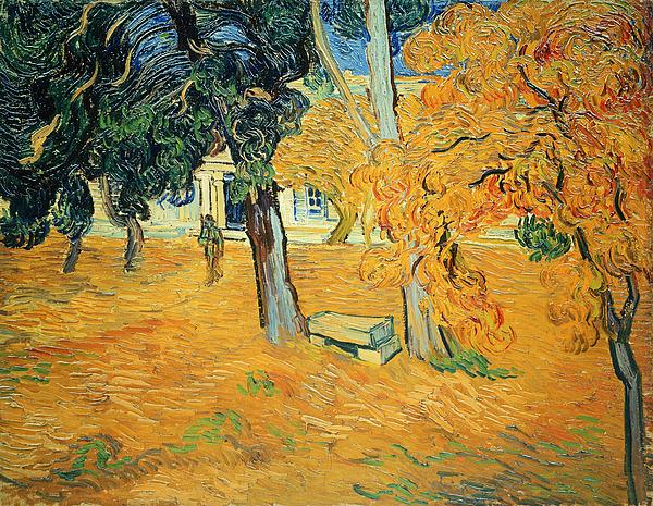 The Park At Saint Pauls Hospital Saint Remy Print by Vincent van Gogh