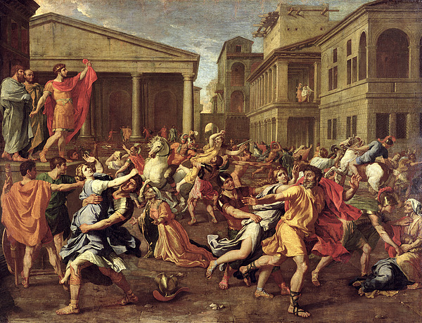The Rape Of The Sabines Print by Nicolas Poussin