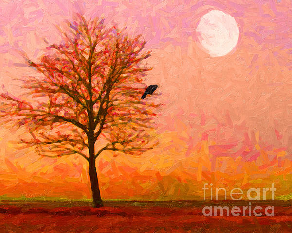 The Raven And The Moon Print by Wingsdomain Art and Photography