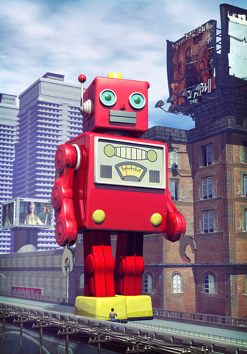 The Red Tin Robot In China Print by Luca Oleastri
