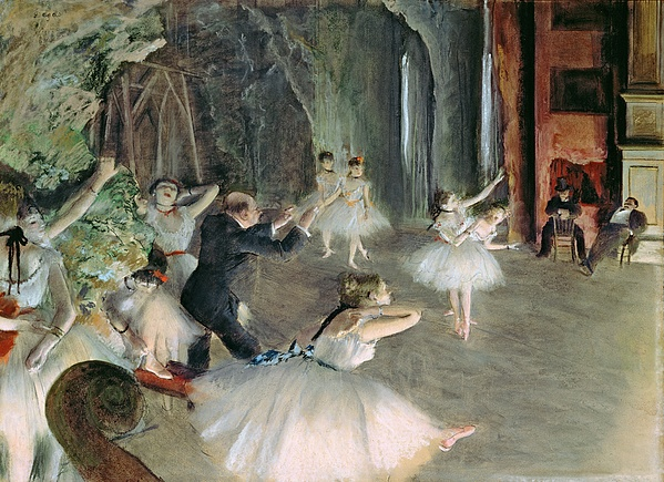 The Rehearsal Of The Ballet On Stage Print by Edgar Degas